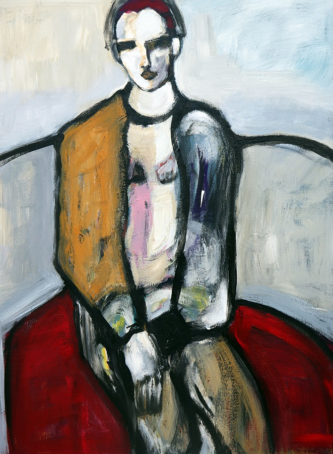 koskinas Girl on Red Couch, 48 X 36, acrylic canvas