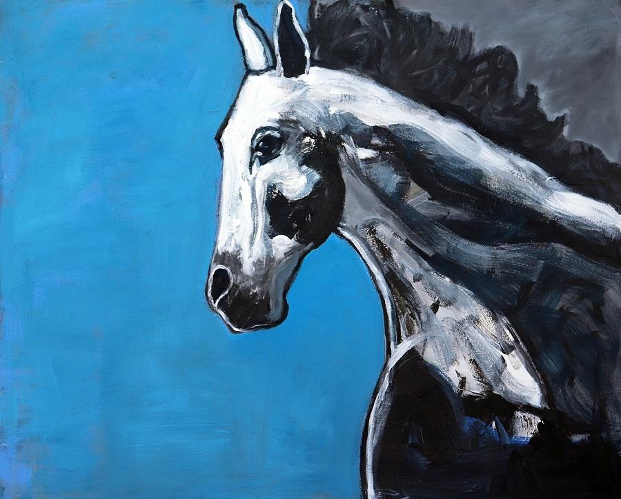 koskinas Horse with Blue, 48 X 60, acrylic canvas