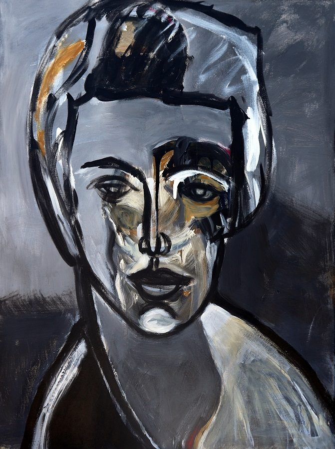 koskinas Portrait in Gray, 48 X 36, acrylic on canvas